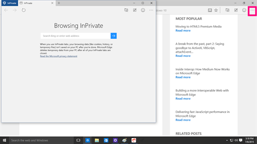 Browsing inPrivate Microsoft Edge