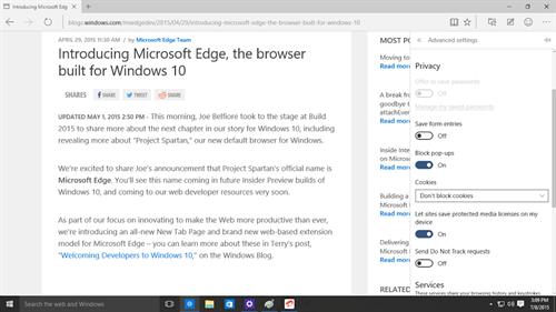 Privacy controls on Microsoft Edge
