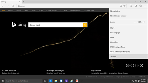 Setting menu on the Microsoft Edge browser