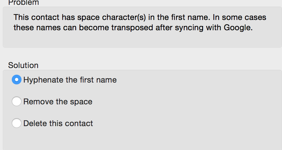 Space in first name
