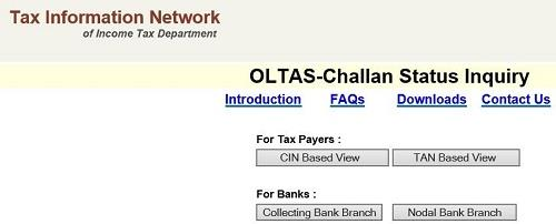 Advance Tax Challan status inquiry page
