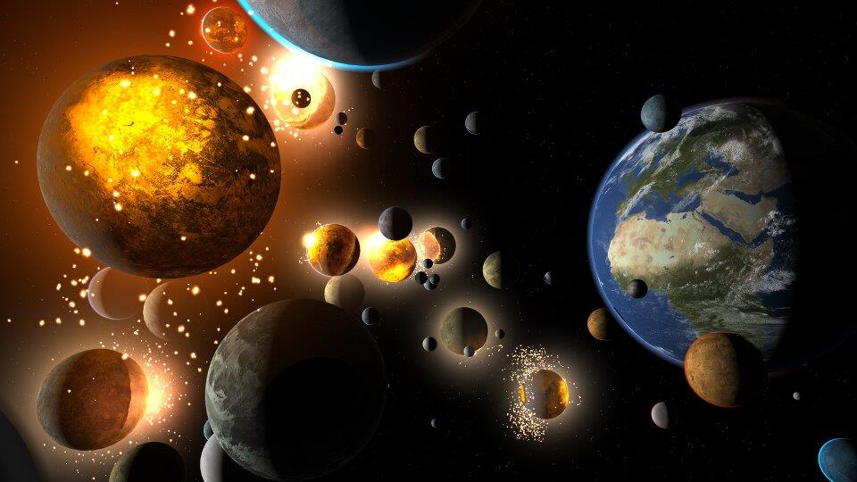 Universe-Sandbox-2-Earth-And-Many-Colliding-Planets