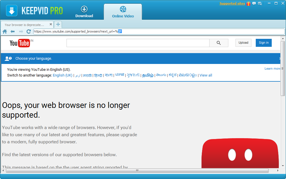 Deprecated browser