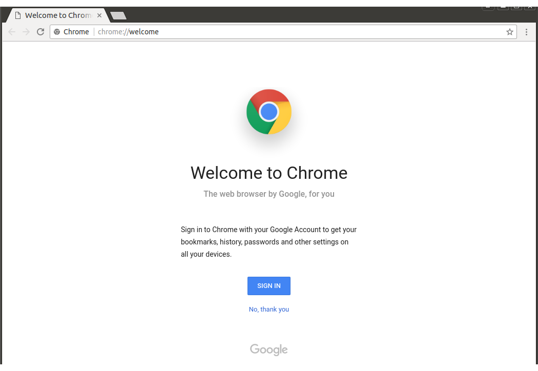 Chrome browser Ubuntu 16.04