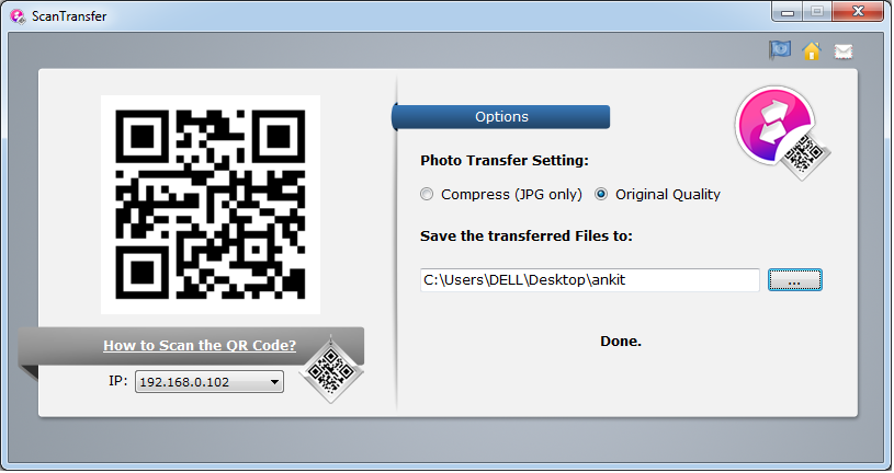 ScanTransfer application homepage