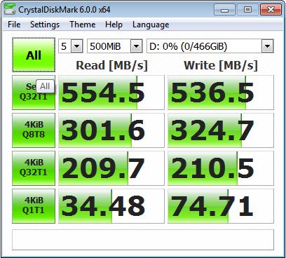 WD SSD CrystalDiskmark test