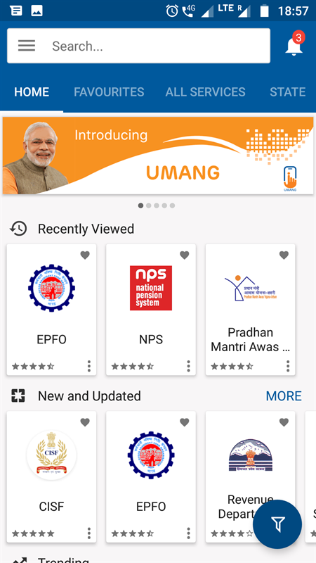 Umang homepage