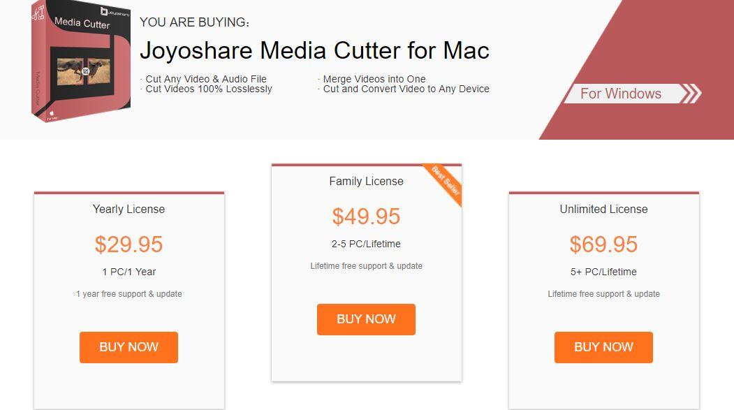 Joyoshare media cutter pricing