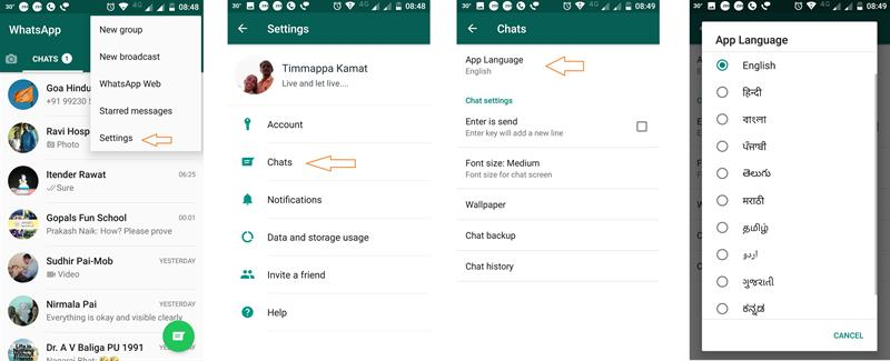 change whatsapp language