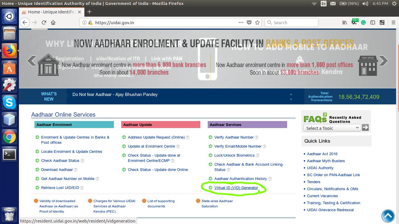 UIDAI home page