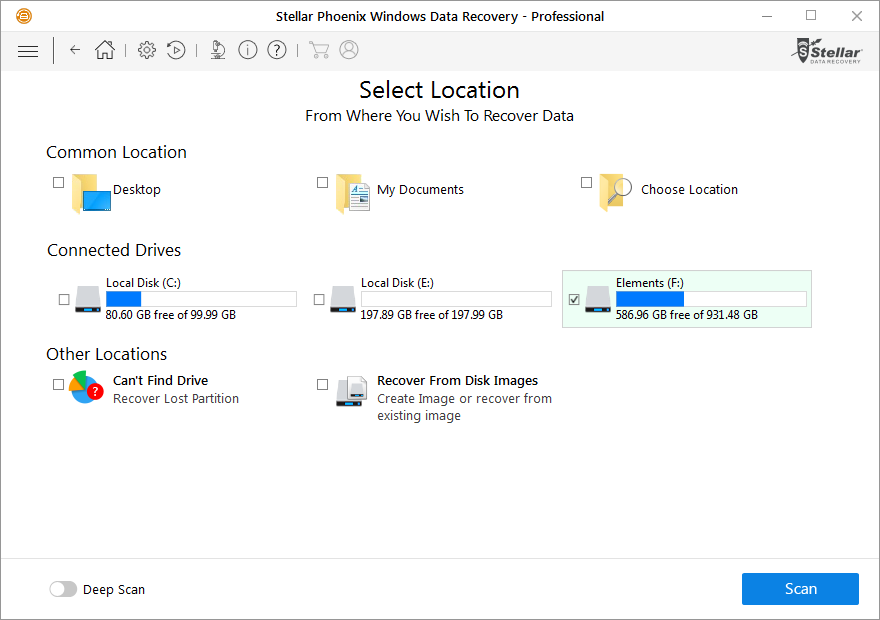 Select partition or folder
