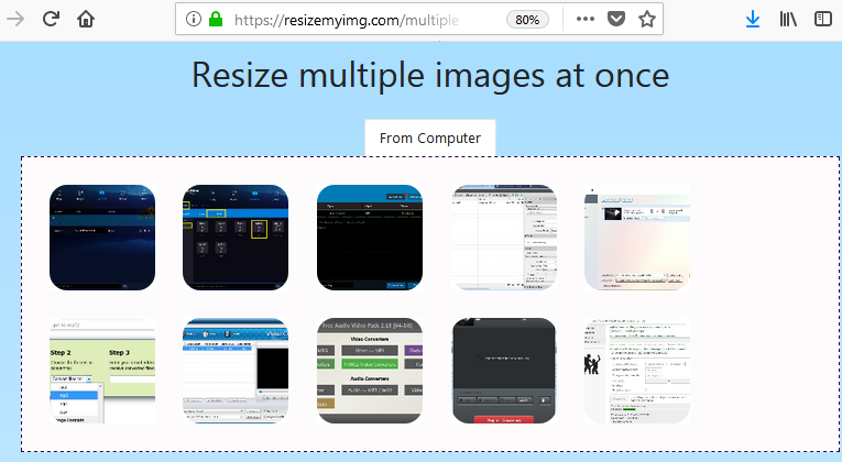 Uploaded images for resizing