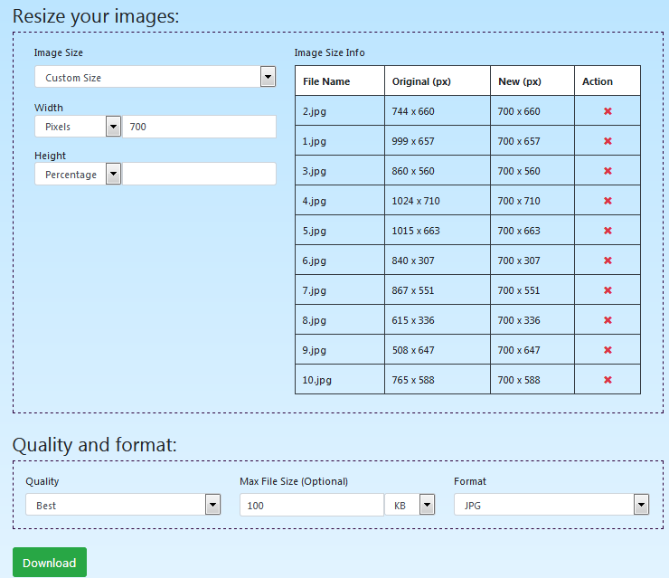 Image size configuration