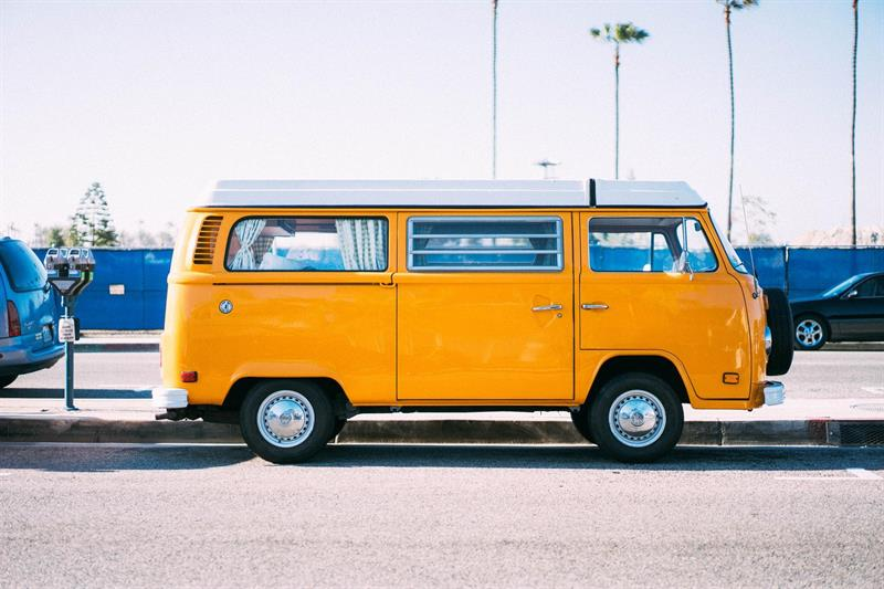 Yellow color van