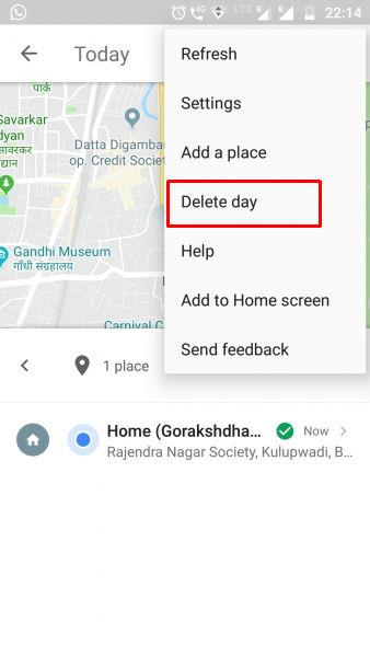 Delete day navigation history Google map