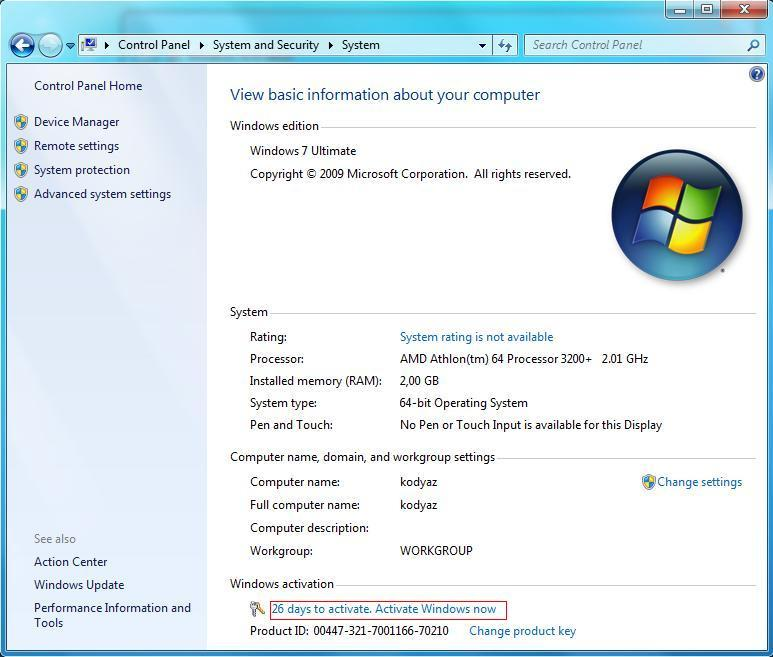 check win 7 activation status