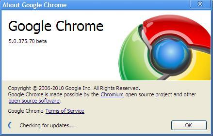 Chrome 5.0.375.86 Update