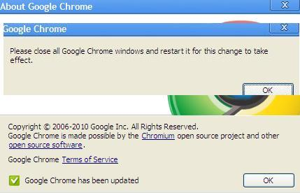 Google Chrome: Chrome 5.0.375.86 Updated to newer version
