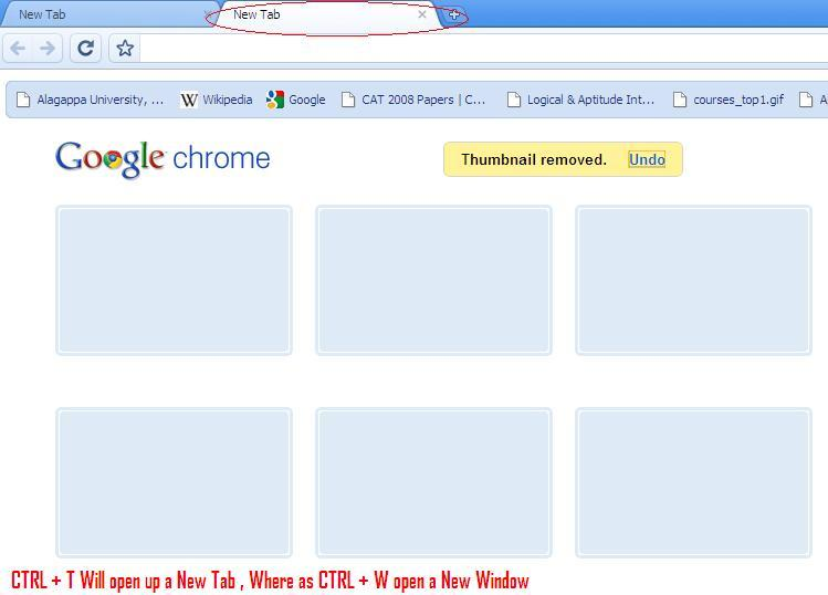 Google Chrome- Open a Tap in Shortcut on Chrome