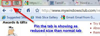 Google chrome pin a tab