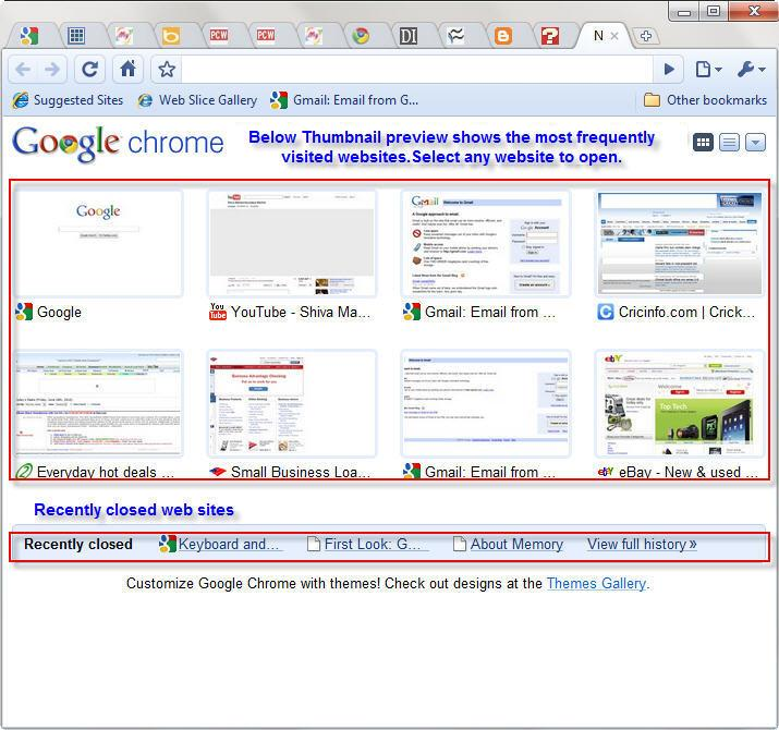 Google Chrome Recently Visited page