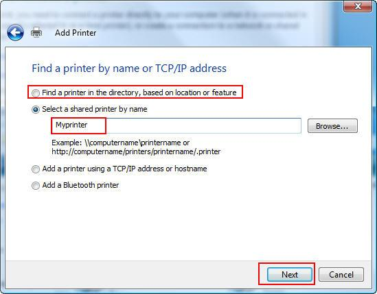 Find a printer by name or TCP/IP address