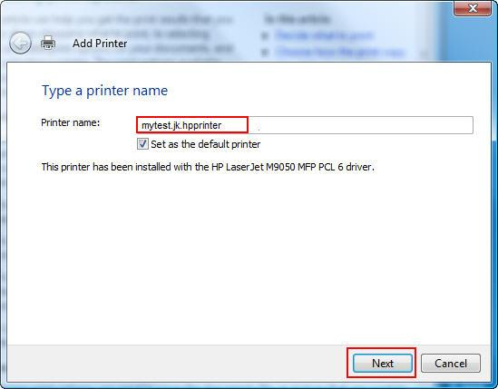 Type a printer name