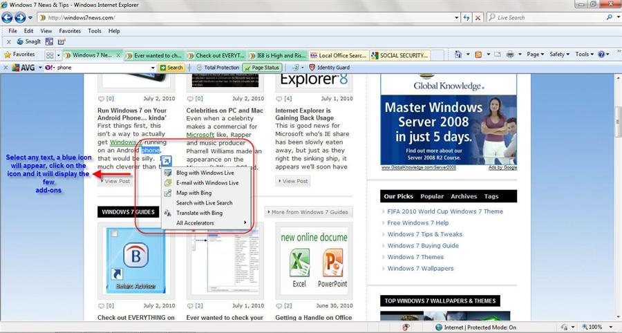 Accelerator feature in Internet Explorer 8