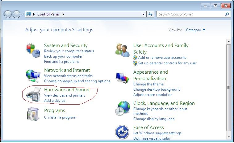 Screen shot of Hardware and sound dialog box in windows 7