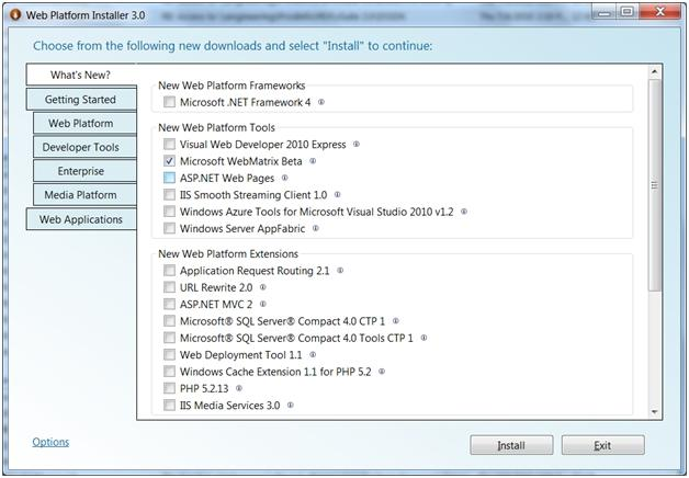 IIS Developer express installer