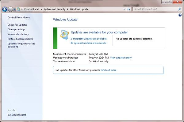 What are the necessary Windows 7 updates