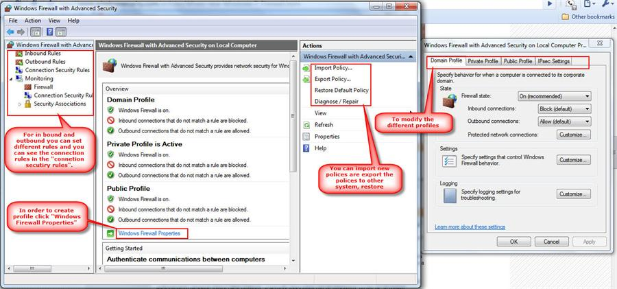 Windows 7 firewall advanced features