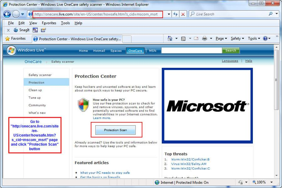Windows Online scanner