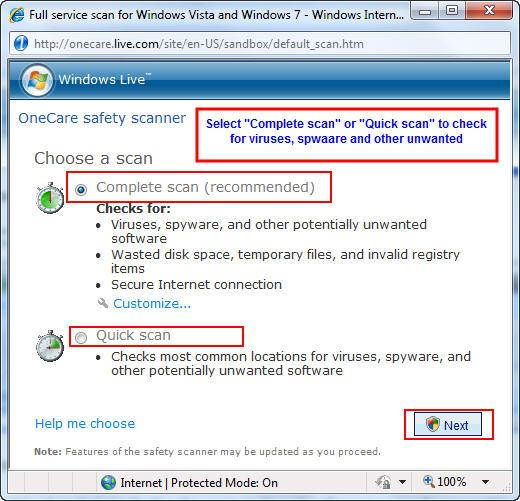 Windows Online scanner scan