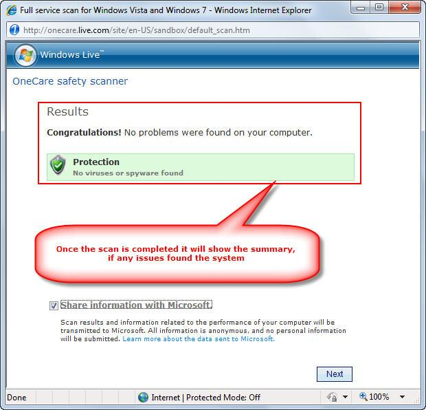 Windows online scanner summary