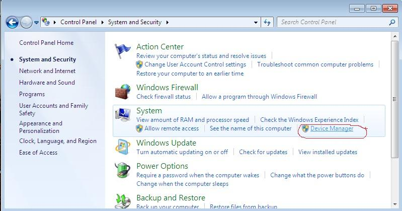 Screen shot of selecting Device Manager in Control Panel in Windows 7
