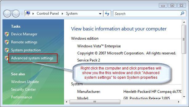 Windows 7 advanced system properties