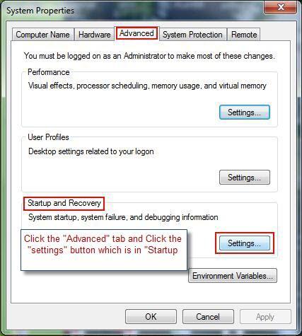 Windows 7 Advanced tab