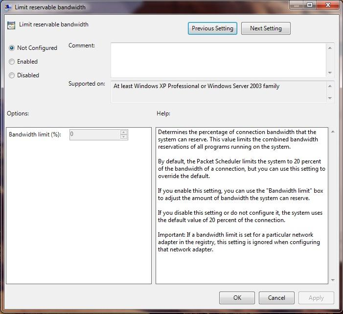 Limit the reserve bandwidth in the windows 7