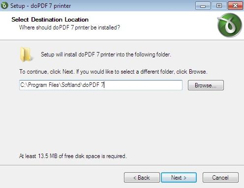 Screen shot of Installation of doPDF in Windows 7