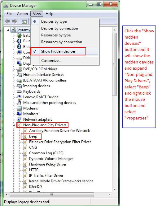Windows 7 Disable beep sound hidden devices