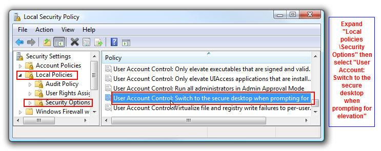 windows vista secure desktop disable