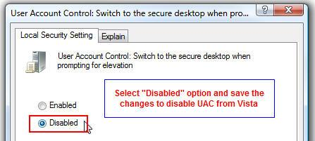 Windows vista secure desktop disabled