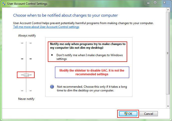 Windows 7 - To disable Secure desktop