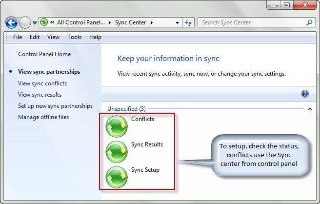 Windows 7 Sync center