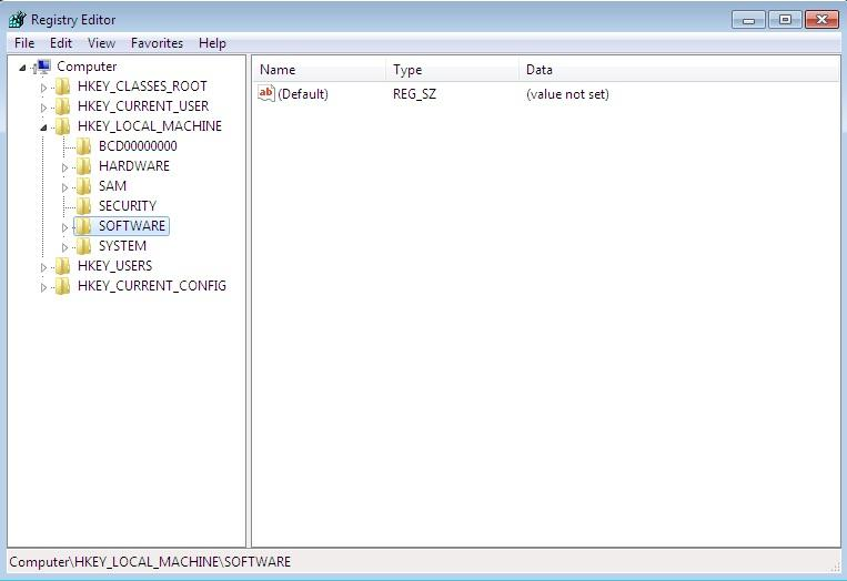 Screen shot of Registry Editor in Windows 7