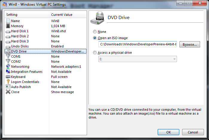 Mount Windows 8 ISO Image as DVD drive on virtual PC