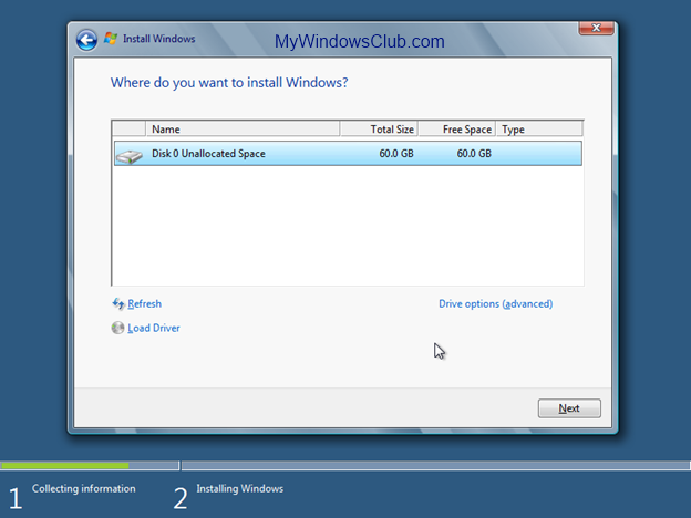 Choose location to install Windows 8