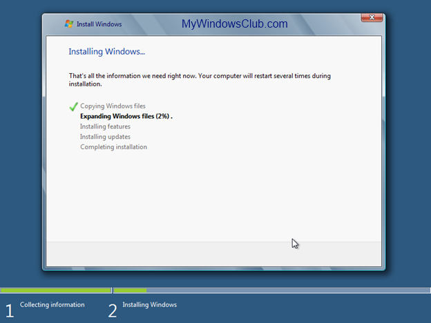 Windows 8 installation progress