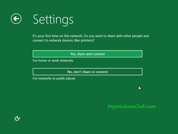 Choose Windows 8 settings